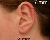 Pink Rose Gold Hoop Earring Cartilage Tragus Helix Eyebrow Nose Ring Small Tiny Catchless Seamless Little Sleeper Hypoallergenic.