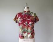 70s Asian print cotton top size large - XL / 70s blouse