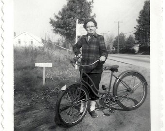 Old Photo Woman wearing Plaid Jacket Standing with Bicycle 1940s Photograph snapshot vintage