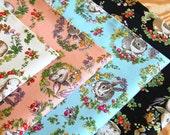 Wild Flowers and Antique Rabbit Design Japanese Fabric - 50cm x 110cm