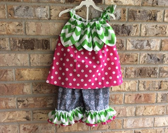 Pink Berry pedal dress and ruffle pant