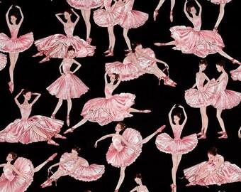 Fat Quarter Tiny Dancer Ballerina on Black Cotton Quilting Fabric Benartex 5163
