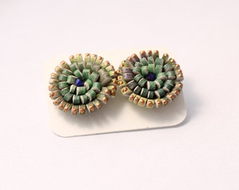 Green Painted Leather Spiral Rosette Stud Earrings