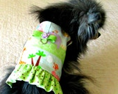 """Flannel Harness for Small Dog or Cat - """"Zoological Garden"""" Print Multicolored Pastels Ruffled, Pomeranian Yorkie Chihuahua"""