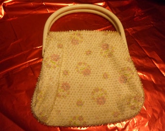 Applied Bead Flowered Purse