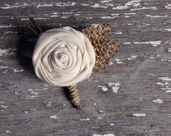 Rustic Country Burlap + Twine Wedding Boutonnieres // Custom Made Country Rustic Wedding Rose