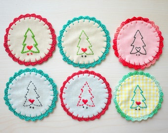 Christmas Crochet Fabric Coaster - Set of 6