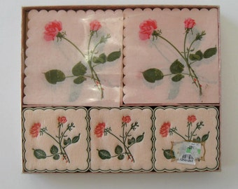 SALE, Vintage Paper Napkin and Coasters Set, Hostess Party set, circa 60's, Rosebuds, Unopened, Kitsch