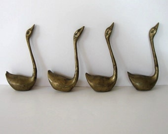 Set of 4 vintage Brass Swans, Home Decor, Mid Century Modern, Hollywood Regency, bird sculptures, paperweights, gift idea