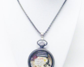 Large Round Antique Silver Pewter Bezel w/Things Pendant Necklace