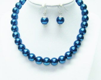 12mm Teal Glass Pearl Choker Necklace & Earrings Set (16 Inch)