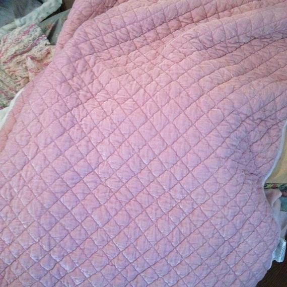 Stunning Bella Notte Pink Silk Velvet Quilted Small Throw