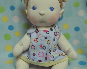 "SALE! Fretta's BeBe Cheeks Doll. Fair Skin, Blue Eyes, Curly Blonde Hair Baby. Jointed 43 cm /17"" Soft Sculpture Girl. Child Friendly Doll."