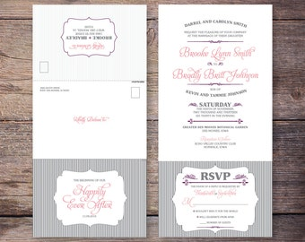 Printable Shabby Chic Send and Seal Wedding Invitation Seal and Send Wedding Invites, Digital File to Print at Home - Brooke