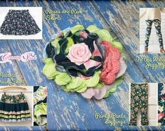 Navy, Pink, Green Headband, Hello Lovely Hair Piece, Matilda Jane Spring, M2M Meet at Dusk Skirt, In the Valley, Party Pants, Roses are Red