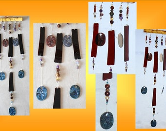 Sacred Symbols Glass Wind Chime Ceramic Bamboo Garden Decor Stained Glass Window Suncatcher Pottery Mobiles