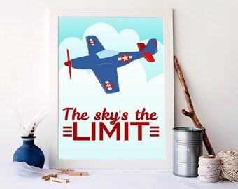 sky's the limit airplane decor, airplane nursery wall art, aviator decor, plane decor, transportation decor, the sky is the limit art