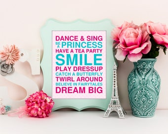 Playroom wall art, typography playroom art prints for kids, inspirational quotes for playroom, girls playroom decor, pink teal decor, A-1070