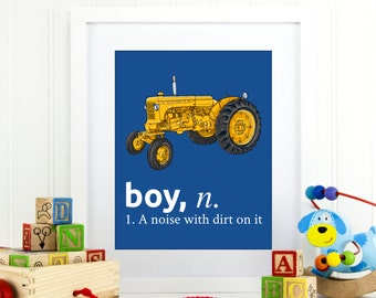boy a noise with dirt on it, construction decor, vintage nursery decor, vintage tractor art, baby boy nursery print, tractor print. A-1100