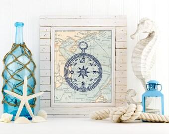 Nautical compass art print, compass poster, nautical map art, sea map art print, nautical nursery poster, bathroom decor, sea life, A-1111