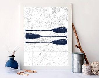 Paddle art print, nautical paddles poster, nautical bathroom decor, nautical home decor, living room decor, dorm decor, vintage art, A-1112