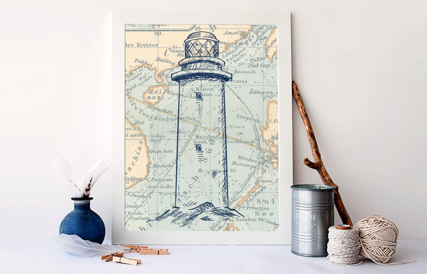 Vintage ocean map lighthouse on map decor bathroom nautical for Bathroom decor lighthouse
