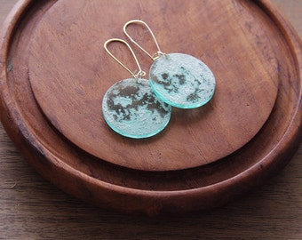 Laser Engraved Moon Earrings: Left and Right Sides of the Moon