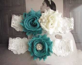 SALE TEAL Garter Set / Wedding garter / Bridal garter Set / Vintage Bridal Garter / Toss Garter / Teal Blue Garter / Toss Garter /GS0008