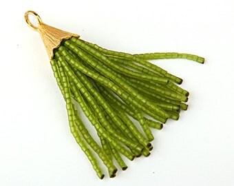 CLEARANCE 20% - OFFTransparent Lime Green, Short Afghan/Tibetan Heishi Seed Bead Tassel, 1 piece- 55 mm/2 inches- Tassel Supplies // TAS-030