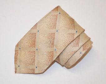 Men's Skinny Vintage Tie, Cream and Tan Necktie, 50s Tie, Vintage Men's Necktie, Men's Neckwear, Mad Men
