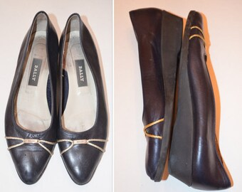 Navy Blue Flats, Size 8, Bally Designer Shoes, Leather Flats, Vintage Flats, Women's Shoes