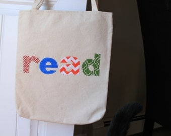 Canvas Library Book Reading Tote Shoulder Strap Bag Handmade Applique Letters Read