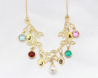 Mothers day Necklace, Gold Family Birthstones, MonyArt Original design. MOTHER Day Gift, Grandmother Necklace, Grandmother jewelry.