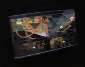 Decorative Tissue Box Vintage Asian Black Lacquer Box Plastic Chinese Box Oriental Scene Mirror Jewelry Box Collectible