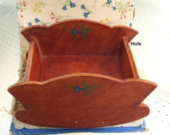 Miniature Wood Cradle, Dollhouse, Hand-Made, Austria, Hand Painted, Orig. Box