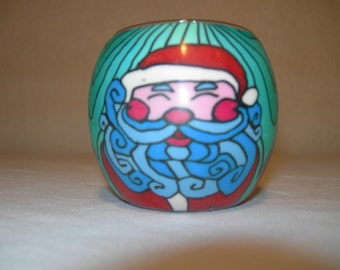 fimo glass votive candle holder (Old Saint Nick)