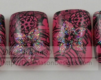 Pink and Black Floral Stamped Instant Acrylic Nail Set