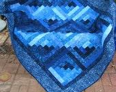 Lap Quilt, Sofa Quilt, Quilted Throw - Handmade Quilt - Log Cabin Indigo Nights Batik Quilt