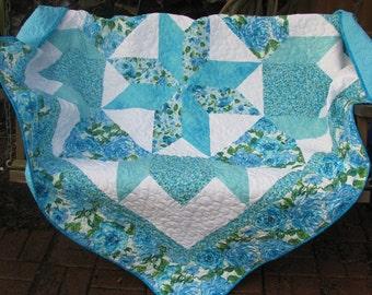 Lap Quilt - Turquois and Auqa Star Quilt