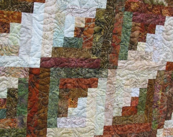 Queen Batik Log Cabin Quilt - Autumn Splendor
