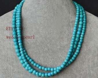 turquoise necklace,triple strand turquoise bead necklace, wedding necklace,statement necklace,6-8mm turquoise necklaces,bridesmaid necklace