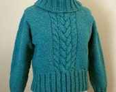 Knitting Pattern - Cropped Cable Pullover with Detachable Turtleneck, womens ladies, cable aran pullover sweater turtleneck knitting pattern