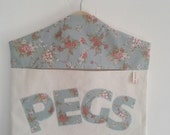 CLEARANCE Handmade Shabby Chic Floral Linen And Natural Cotton Canvas Peg Bag