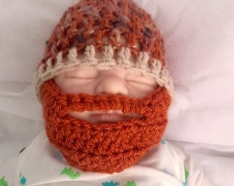Baby boy beard orange crocheted knitted hippie hippy boho FITTED or SLOUCH beanie unique designer kids newborn shower gift bearded toddler