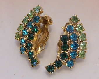 Emerald and Peridot Green and Turquoise Rhinestone Clip Earrings