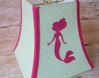 Lamp Shade Mermaid Lampshade in Hot Pink and Mint Green Polka Dot