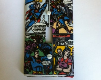 Superman Comic Book Fabric Switch Plate Cover, Superman Comic Cartoon  Strip, Superman Bedroom Playroom