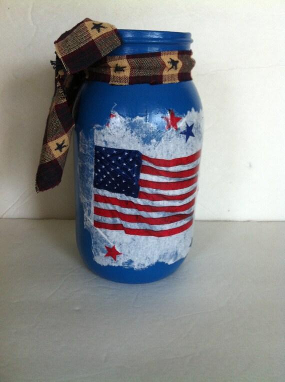 Items similar to americana painted mason jar decoupage for Using fabric paint on glass