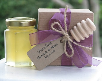 Set of 30 - Honey Favors, Boxed Favor with Dippers, Wedding Favors, Honey Wedding Favors, Bridal Shower