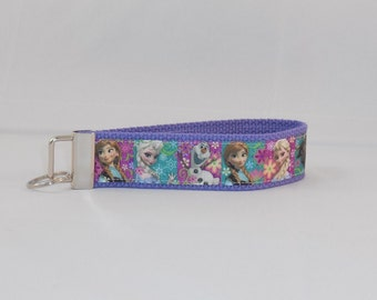 Keychain Wristlet Made With Frozen Inspired Ribbon